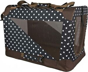 POLKA DOT 360° VIEW ZİPPERED SOFT FOLDİNG COLLAPSİBLE DURABLE KENNEL PET DOG