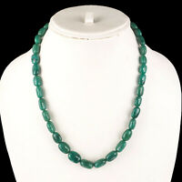 18 Inch Natural Emerald Tumble Beads Single Strand Necklace 925 Silver Clasp