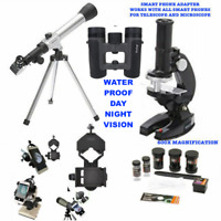 TELESCOPE LUNAR AND FOR STAR OBSERVATION + MICROSCOPE BINOCULARS +PHONE MOUNT