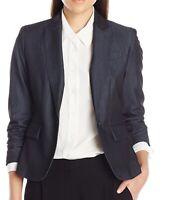 Anne Klein Womens Jacket Indigo Twill Blue Size 10 One-Button Solid $129 498