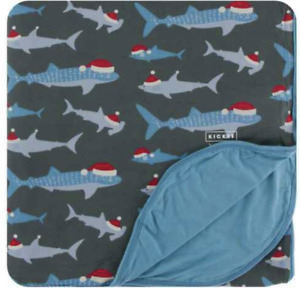 NEW Kickee Pants Double Layer Throw Blanket in Pewter Santa Sharks