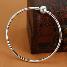 1pc Smooth Silver Cuff Bangle Bracelet Fit European Charm Beads Openable Clasp