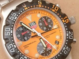 TAG HEUER FORMULA 1  CA 1214 GENTS CHRONOGRAPH RARE ORANGE DIAL FULLY CLEANED