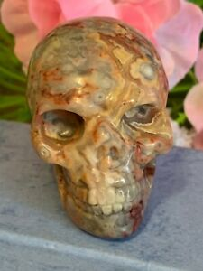 2 inch Striped agate hand carved skull #3 50x40x35mm beautiful natural colours