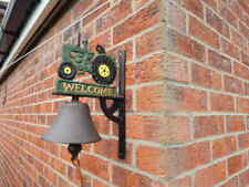 CAST IRON TRACTOR WELCOME SIGN WALL BELL ~ ANTIQUE STYLE FARM SHED COTTAGE #2