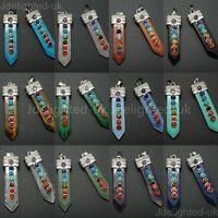 Natural Precious Gemstone Healing Reiki Chakra Sword Shape Pendant Charm Beads