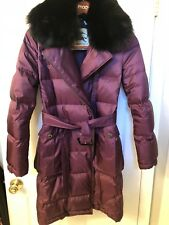 100% Authentic Burberry Winter Down Coat With Fox Fur Collar. Excellent