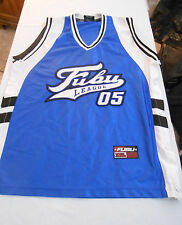 Vintage FUBU 05 Champions League Basketball Jersey Mens L  Blue White  w/ Snaps