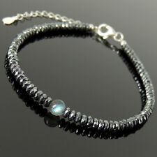 Hematite Meditation Sterling Silver Chain Crystal Anklet High Grade Labradorite