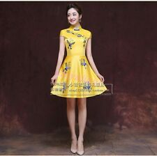 Embroidery Floral Traditional Short Cheongsam Chinese Bridesmaid Wedding Dress