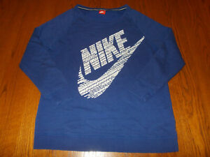 NIKE LONG SLEEVE BLUE ROUND NECK SWEATSHIRT WOMENS XL EXCELLENT CONDITION