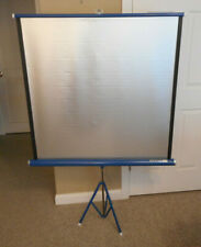 """Vintage Da-Lite Silver Flyer Portable Projector Screen Tri-Pod Blue 40"""" x 40"""""""