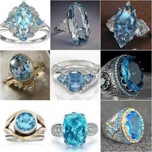 Two Tone 925 Silver Wedding Rings Elegant Cubic Zirconia Women Jewelry Sz 6-12