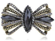 Jet Black Faceted Ribbon Bead Crystal Rhinestone Fashion Bangle Bracelet USA