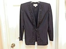 John Meyer Formal Evening Jacket Size 8 Black Beaded Lapel 1 Button Blazer Coat