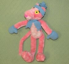 """16"""" Vintage Pink Panther Stuffed Animal With Blue Hat And Scarf Wired Limbs Toy"""