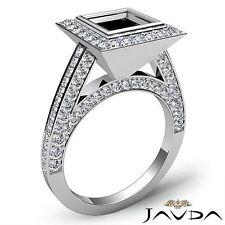 Princess 1.7Ct Diamond Engagement Ring Halo Bezel Set Semi Mount 14k White Gold