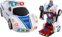 Transformers Robot Police Car Toy Lights Sounds Bump and Go Action Gift Toy Kids