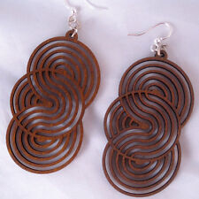 SEAMLESS CIRCLES Green Tree Jewel BROWN laser-cut wood earrings USA 1373