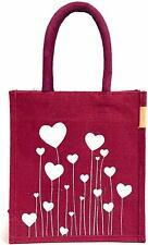 Women's Jute Bag - Lunch Bag Tote Bag,Bag for Tiffin, Bags with Zip,Totes Maroon