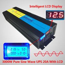 3000W 6000W pure sine wave power inverter DC 12V TO AC 230v 240v UPS charging UK