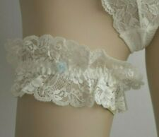 Ivory Deep Lace Garter Belt One Size Fits All Red Wedding band Sexy Ruffle