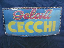 INSEGNA GELATI CECCHI SU MASONITE OLD SIGN TORINO CARTELLO BAR GELATERIA ITALY