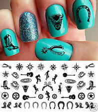 Country & Western Nail Art Waterslide Decals Set #1 - Horseshoes, Cowboy Boots!