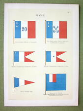 FLAGS France Naval Governors of Colonies - 1899 Color Litho Print