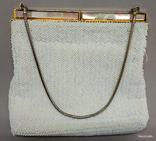 Evening Bag Pearl Glass Seed Beads MOP Frame Clasp 1960s Purse Wedding Prom Vtg