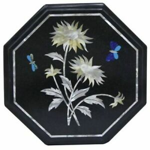 """12"""" Inlay Black Marble Center Side Coffee Flower Table Top Malachite"""