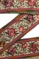 "Vintage Border Embroidered Lace Sari Trim 4.6"" Wide Woven Antique Ribbon ST2543"