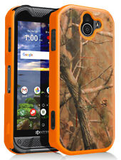 Orange Camo Tree Real Woods Kickstand Case Cover for Kyocera DuraForce Pro 2