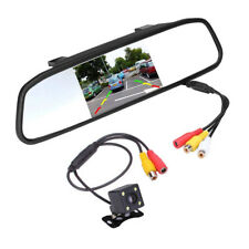 "4.3"" TFT Mirror Monitor Car Rear View Backup Reverse System with Cam Camera Kit"