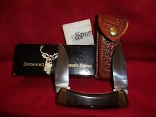 Vintage Browning pocket knife, NOS 3018F2, 2 blades, leather sheath,box & papers
