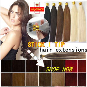 """14""""-22"""" 7A 1G Stick I Tip Micro Ring Remy Human Hair Extensions Double Drawn UK"""