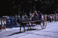 Kodak Slide 1950 Red Border Kodachrome Donkey Cart in Parade
