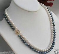 2 rows 7-8mm black white freshwater Cultured pearl necklace 17-18""