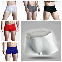Seamless Boxer Briefs Short Sexy Men's Underwear Ice Silk Soft Underpants Shorts