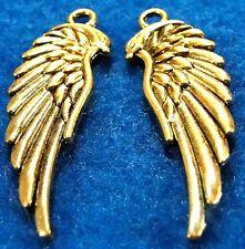50Pcs.  WHOLESALE Tibetan Antique Gold WING Angel Earring Drops Charms Q0224