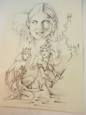 "Original Pencil Graphite Fantasy Art Drawing signed Shaw 96' 5.5"" x 7.5"""