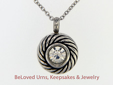 Round Swirl With CZ Pendant Cremation Jewelry Keepsake Urn with Necklace, Funnel
