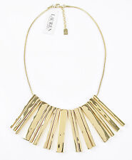 LAUREN Ralph Lauren Hammered Gold-Tone Bar Drop Frontal Necklace $158