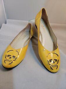 Loeffler Randall Womens yellow  Patent Leather Flats Size 8 B skull cutout