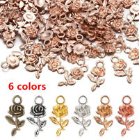 DIY Jewelry Making Small Charm Rose Flower  Necklace Pendant Bracelet Beads