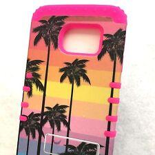 Samsung Galaxy S6 Edge - HARD & SOFT HYBRID IMPACT CASE PINK PALM TREES SUNSET
