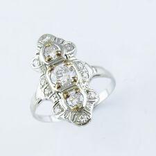 NYJEWEL 8K Solid W. Gold Vintage Filigree Victorian 1ct Diamonds Ring