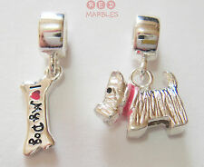 925 argento Sterling Kids DOG & Bone Charm Perline. NUOVA. MISS Rhona / Rhona Sutton.