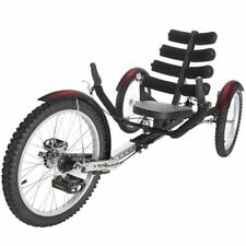 "Mobo Shift 20"" 3 WHEEL Trike Tricycle RECUMBENT Bike with reverse Black"