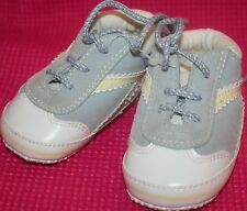 r- SHOES BABY/TODDLER  SZ 3-6 MO SNEAKERS LT BLUE SOFT SO CUTE GENTLY USED